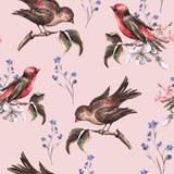 Vintage Floral Seamless Background with Birds