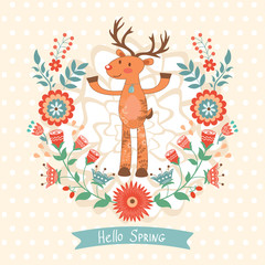 Hello spring concept card with deer