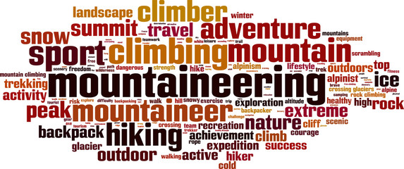 Mountaineering word cloud concept. Vector illustration