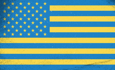 Flags of countries. Flags of Ukraine and USA combined together
