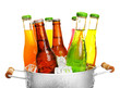 Glassware of different drinks in metal bucket with ice cubes - 79459936