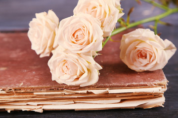 Beautiful roses with vintage book on wooden table, closeup