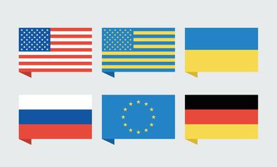 Flags of countries. USA, Ukraine, European Union, Russia