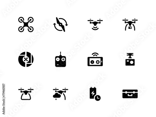 Quadcopter and flying drone icons on white background. poster