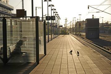 Bahnsteig im Gegenlicht