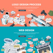 Flat design concepts for logo design and web design development
