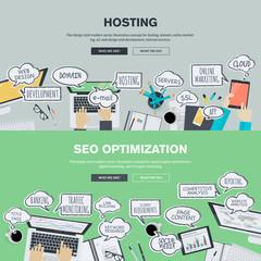 Set of flat design illustration concepts for hosting and SEO