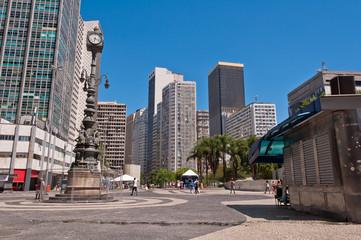Empty Carioca Square in Downtown Rio de Janeiro