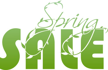 Spring sale green illustration with leaves