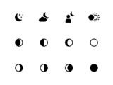 Moon phases icons on white background.