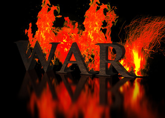 Grunge Metallic Letters write WAR in Flames