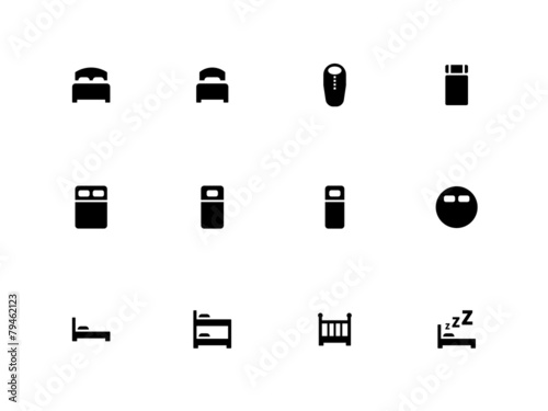 Bed icons on white background. - 79462123