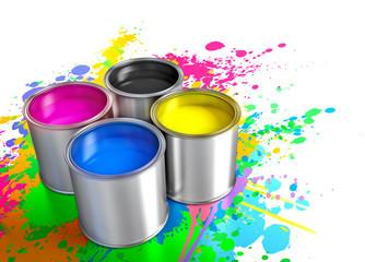 paint buckets, cmyk concept