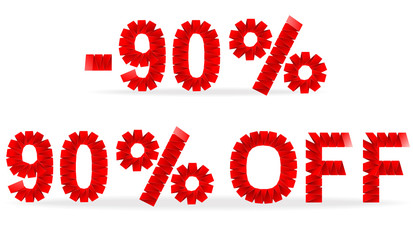 90 percent sale folded paper sign