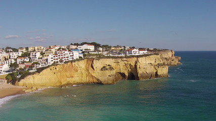 Aerial from the village Carvoeiro in Portugal