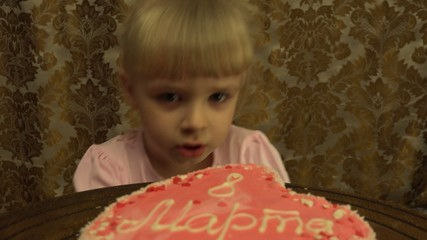 Cute Girl Celebrates 8 March, Intenational Women's Day. 4K, UHD,