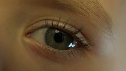 Close-up Macro Shot of Little Girl Eye Blinking. 4K, UHD, Ultra