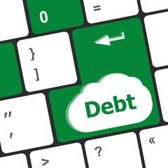 Computer keyboard key debt, business concept