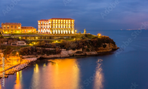 Palais du Pharo in Marseille by night - France