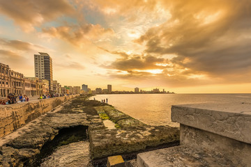 Beautiful sunset in Havana