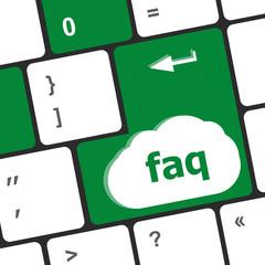 Computer keyboard key with key FAQ, closeup