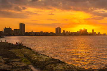 Romantic sunset over the Havana skyline