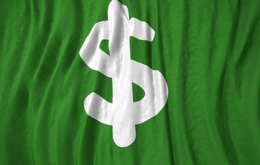 Money symbol corrugated realistic green flag 3d illustration