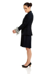 Businesswoman with handcuffs.