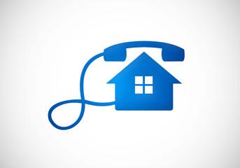 home telephone call illustration vector logo