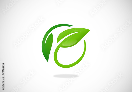 leaf nature ecology circle vector logo
