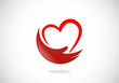 love heart hand help abstract vector logo - 79467124