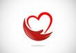 love heart hand help abstract vector logo