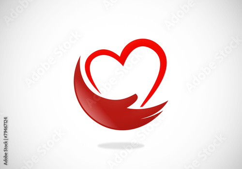 love heart hand help abstract vector logo