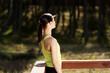 Woman relaxing after running