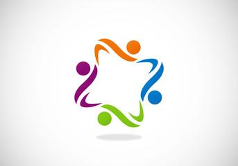 people circle happy vector logo