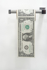 Dollar bills in the form of a roll of toilet paper