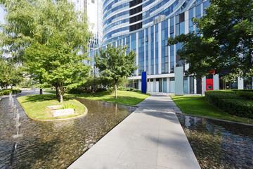 footpath around modern office building