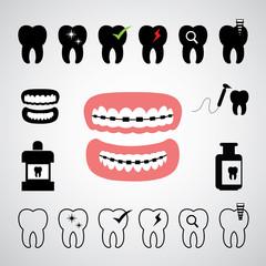 dental vector icon set