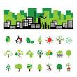 building and tree symbol set