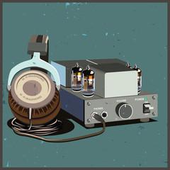 retro headphones and amplifier