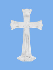 crystal cross blue background christian symbol of resurrection