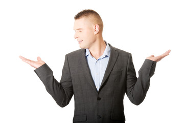 Businessman with empty both hands