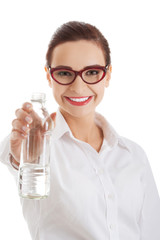 Portrait woman with bottle of water