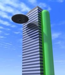 Abstract building and UFOs.