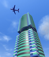 Modern city building and a plane in the sky.