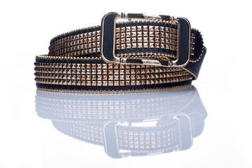Black women style belt with metal rivets