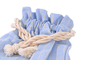 Blue cloth bag with cream rope