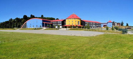 Colorful school in Puerto Varas, Chile