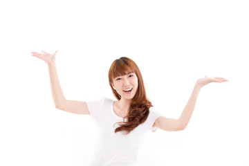 happy, smiling woman raising her both hands, showing something o