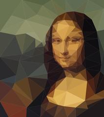 polygonal Mona Lisa portrait